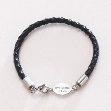 Mans Leather memorial Bracelet with Engraving | Someone Remembered